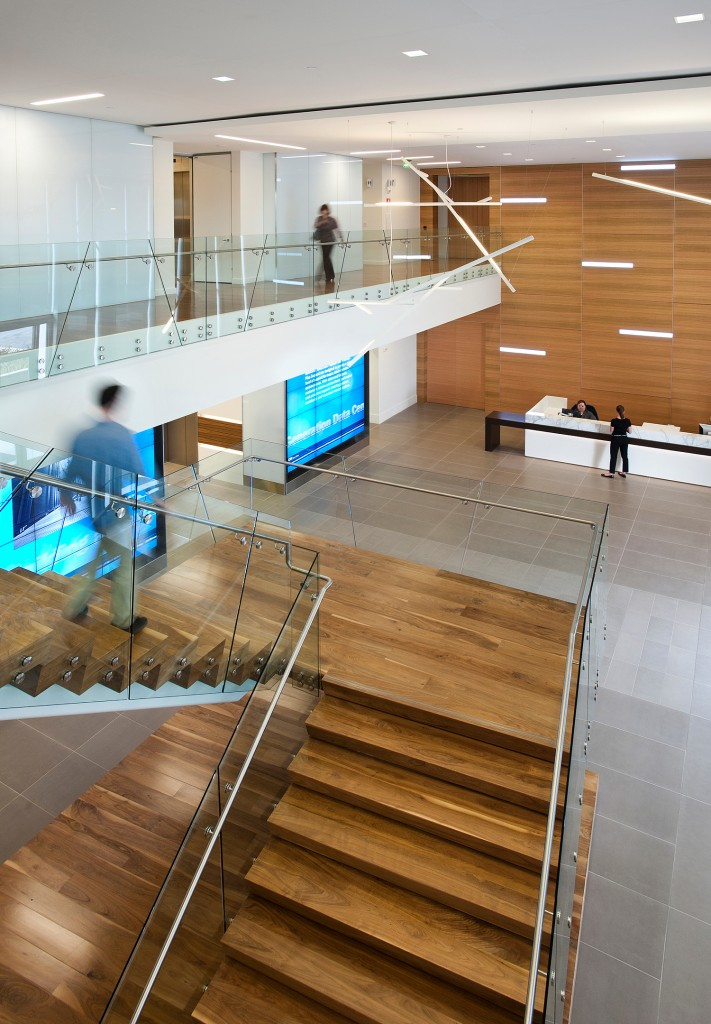 At Brocade Communications Systems in San Jose, the stairs are an architectural feature of the lobby, and lead directly to the EBC and meeting rooms.