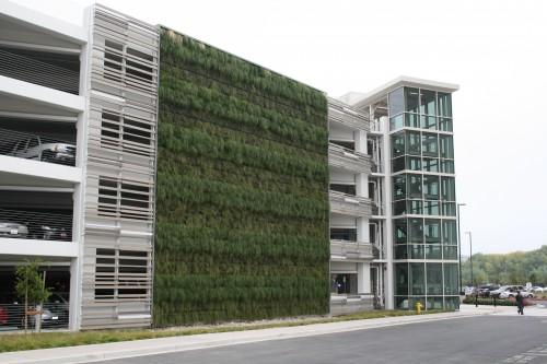 Green wall on parking garage