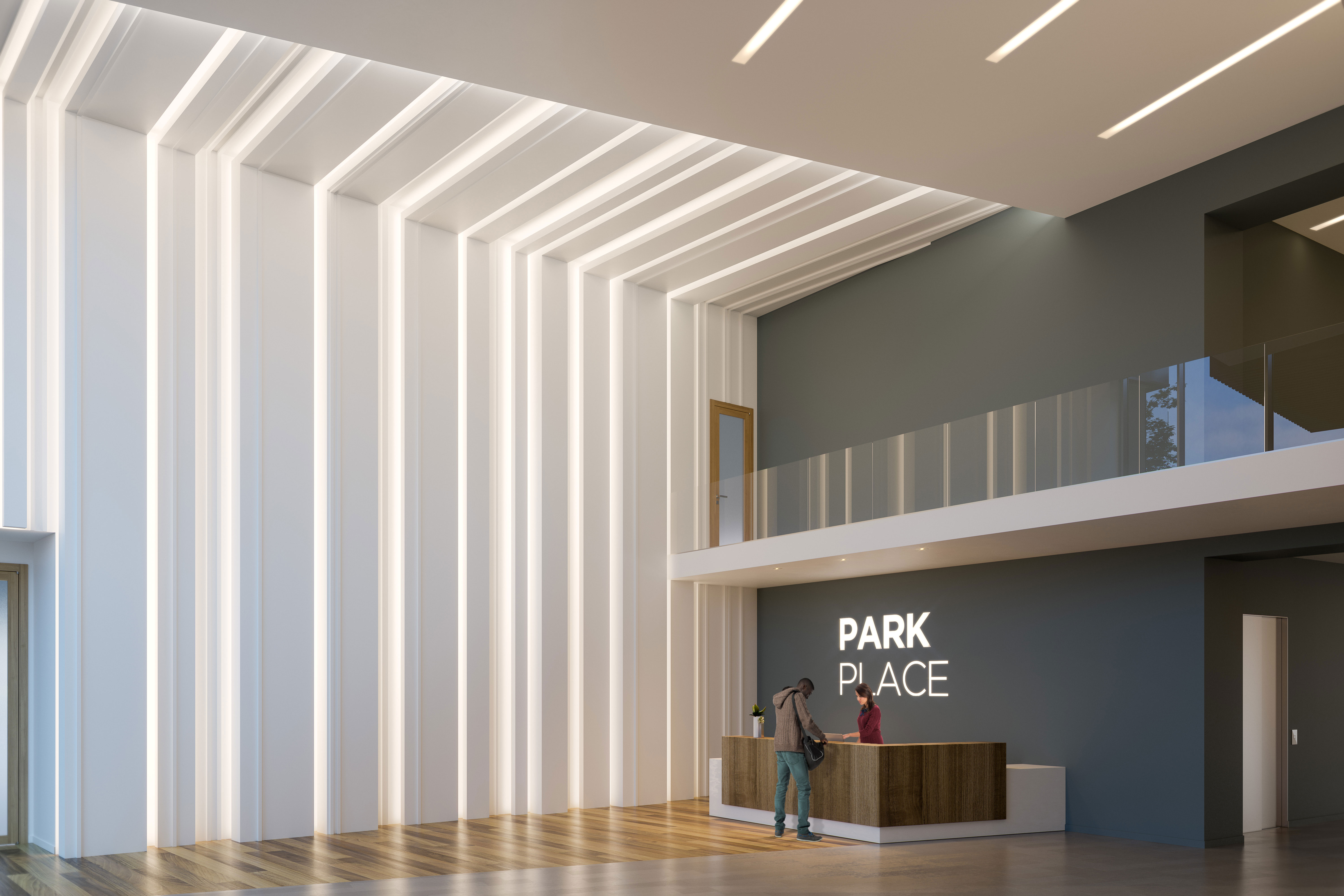 Park Place Lobby Rendering. CLICK for VR Experience
